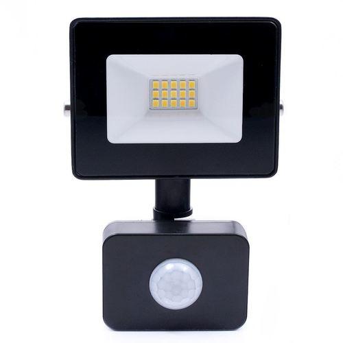 Fekete LED reflektor 10 W. Színe: 4500 K. Pir IP65