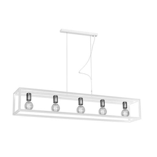 Fehér függesztő lámpatartó fehér 5x E27