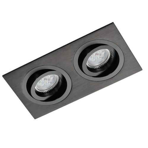 Fekete téglalap alakú dupla downlight Alcazar 542.BB
