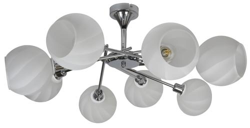 Raul csillár 8X40W E14 króm, fehér lámpaernyő