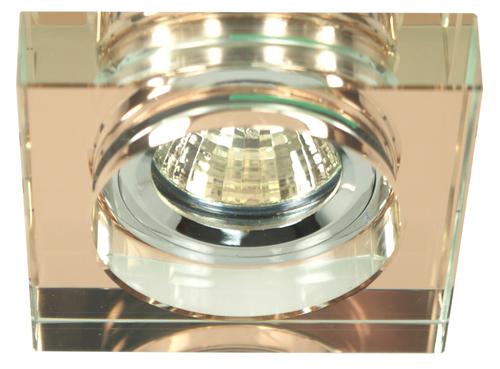 Ss-16 Ch / Br Mr16 Chromochko mennyezeti lámpa Mennyezeti lámpa Négyzet alakú üvegbarna