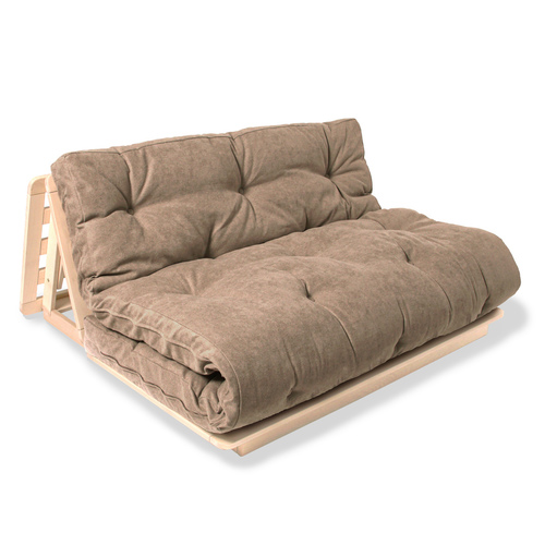 FUTON 140x200 Layti 140 kanapé nyers fából - bézs