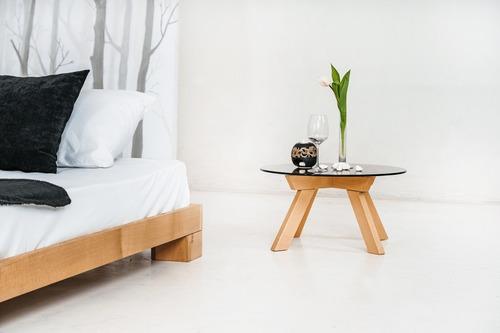 Kocka franciaágy 140x200 nyers fa