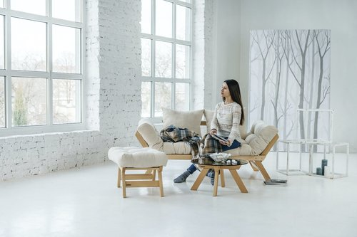 Allegro fekvő kanapé kanapéval olajozott fa (lenmag olaj) - krém