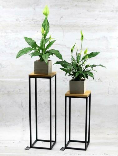 Modern fém padló virágállvány TAVOLO 60cm fekete LOFT