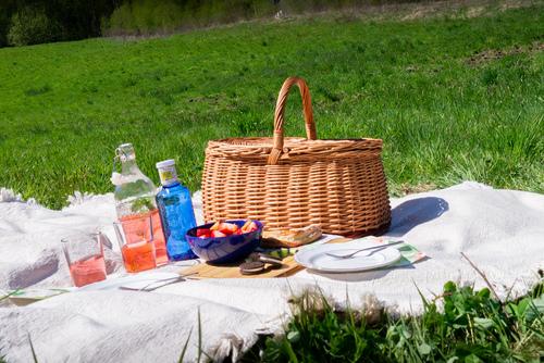 Zárt fonott piknik / bevásárló kosár - öko - kézzel készített