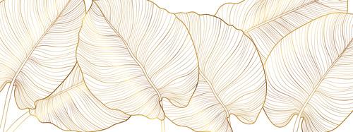 Falikép arany levelek, természet, arany, minimalizmus, szörnyeteg levelek