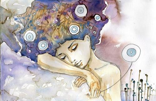 Falikép nő, művészet, színek, alvás, pihenés, pihenés, szépség, finomság