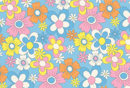 Falikép virágok, minimalizmus, természet, kék, rózsaszín, gyerekszoba