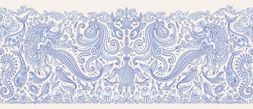 Tengerészeti falfestmény, sellő, tenger, tengerparti stílus, kék