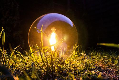 Kerti gömblámpa Luna labda 25 cm, modern, átlátszó