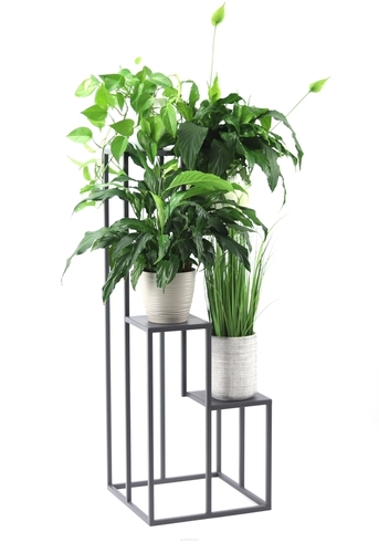 Fém virágágyas állvány négy virághoz METALLO 112cm Grey LOFT