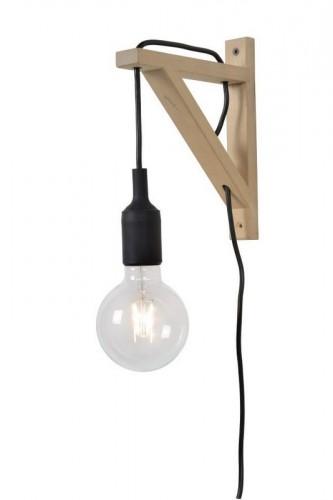 Fali lámpa FIXI WOOD fekete kábel