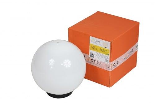 Kerti lámpa Luna labda 25 cm, kerti labda, ragyogó labda, ösvényvilágítás, klasszikus stílusú, fehér, fényes