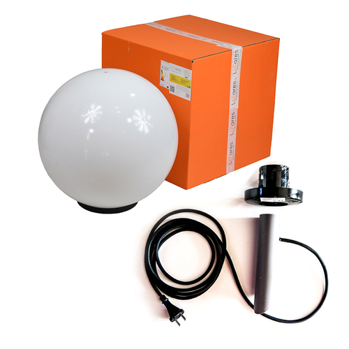 Dekoratív labda fehér fényű - Luna labda 50 cm szerelőkészlettel, 3 m-es kábellel, rögzítő oszloppal