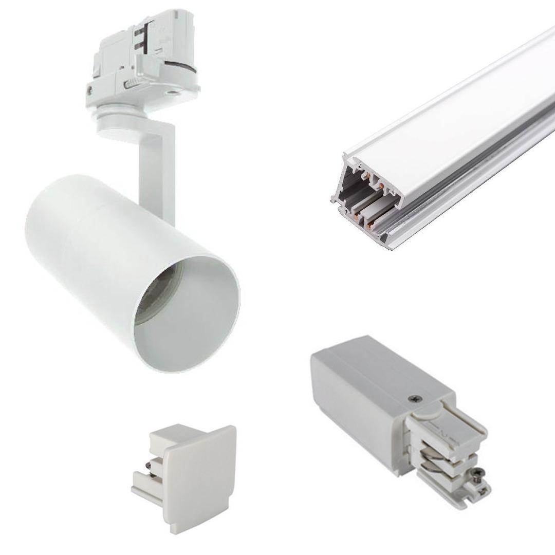 Telepítésre kész 2m 3-es sávkészlet GU10 10W fekete vagy fehér lámpák