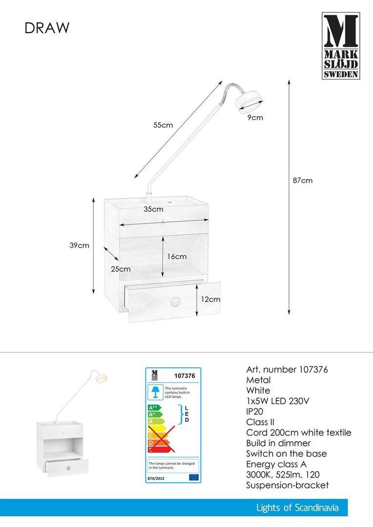 DRAW 1L fehér lámpa
