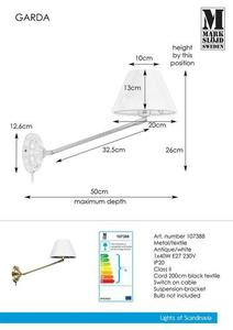 GARDA fali lámpa 1L antik / fehér small 0