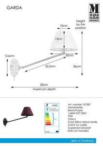 GARDA fali lámpa 1L fekete / lila small 0