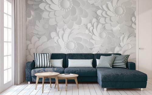 Falfestmény Fehér 3D virágok