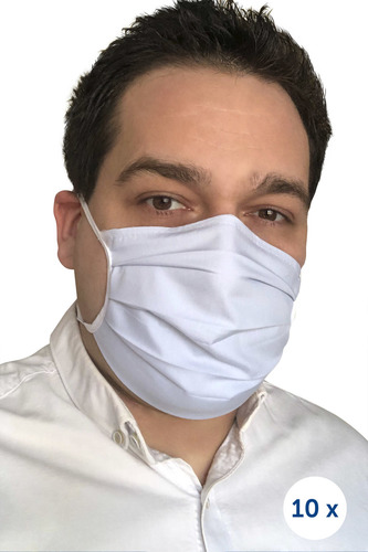 Védő pamut maszk a hevedereken 10 darab kék