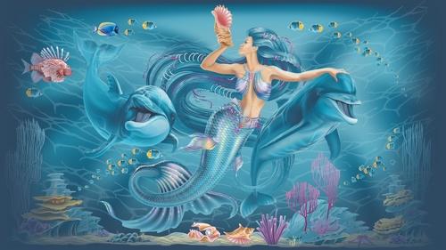 Falikép sellő, óceán, delfinek, lányszoba, víz