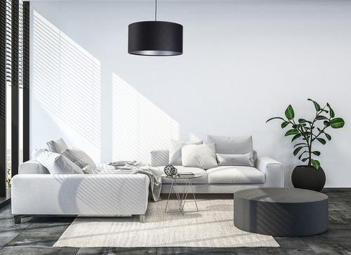 Bőr steppelt lámpa E27 60W görgő fekete ezüst