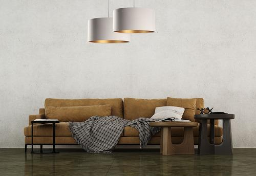 Függő lámpa Bőr E27 60W asztal fölött, bézs, arany