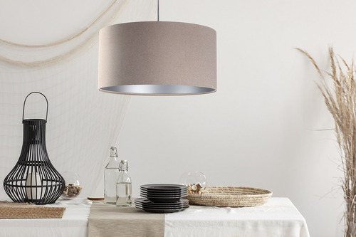 Függő lámpa Bőr E27 60W kárpitozott anyag, bézs, ezüst