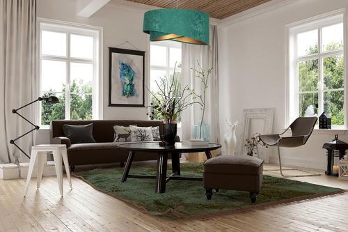 Modern Elegance 60W E27 függő lámpa aszimmetrikus, velúr, smaragd / arany