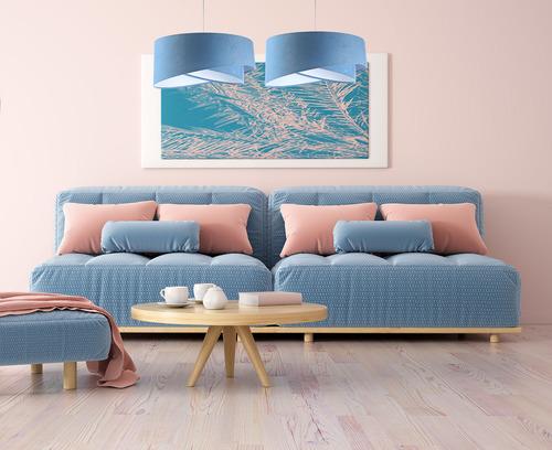 Konyhai lámpa Elegance 60W E27 kék / fehér, velúr szövet