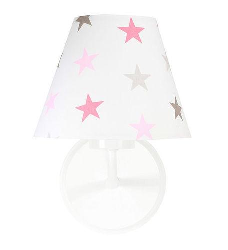 Fali lámpa egy lány szobájába Raggio E27 60W szürke és rózsaszín csillagok