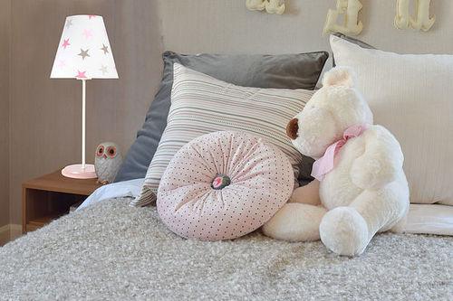 Asztali lámpa gyerekeknek Ombrello 60W E27 50cm fehér / szürke-rózsaszín csillagok