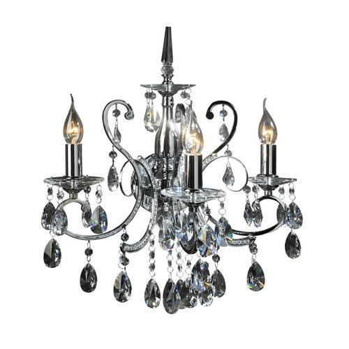 Klasszikus fali lámpa Barocco Chrome E14 3 pontos kristályokkal